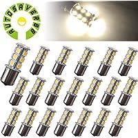 AUTOSAVER88 [20 Pack] Superbright 1156 LED Light Bulb Warm White BA15S 5050 [18 SMD] Car Trailer LED Light 7503 1141 1073