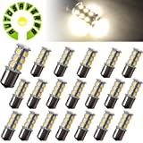 AUTOSAVER88 [20 Pack] Superbright 1156 LED Light Bulb Warm White BA15S 5050 [18 SMD] Car Trailer LED Light 7503 1141 1073