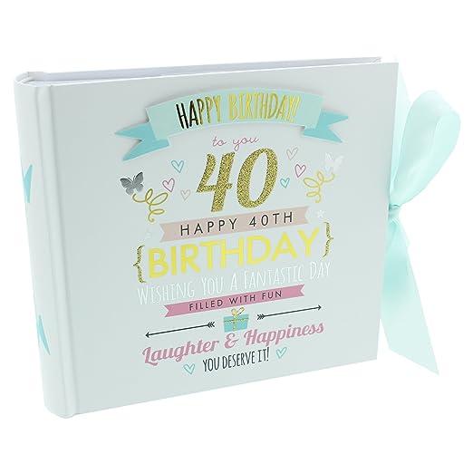 ukgiftstoreonline Álbum de Fotos de 40 cumpleaños con Capacidad para 80 Fotos de 15 x 10 cm.