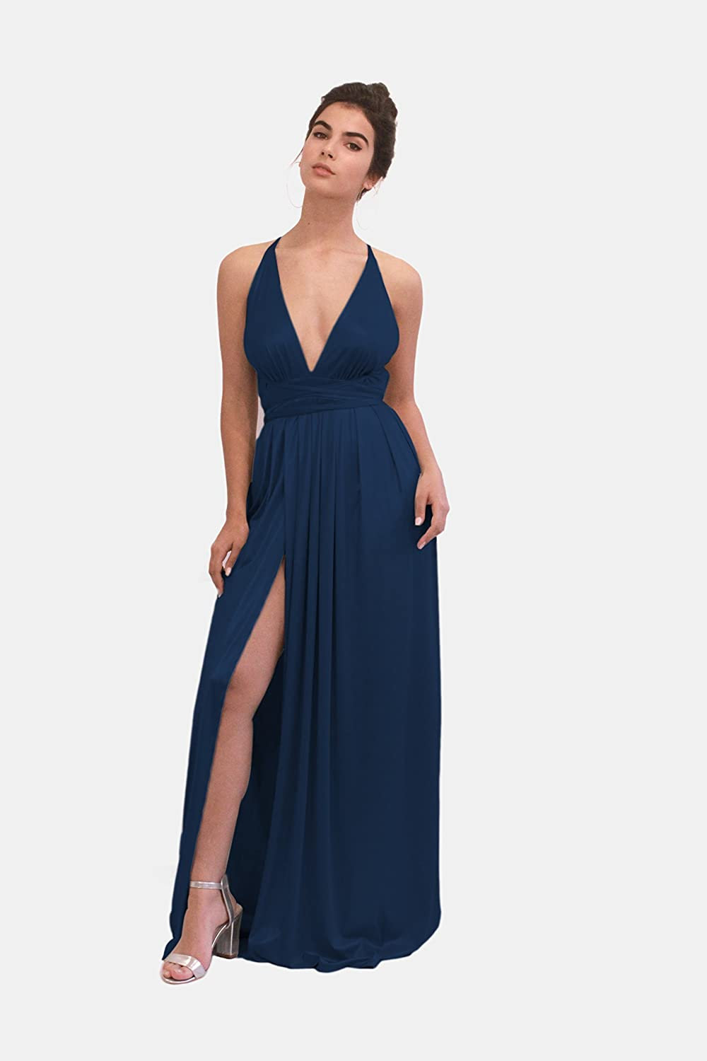 Amazon Com Navy Blue Metallic Evening Dress Maxi Long Bridesmaid