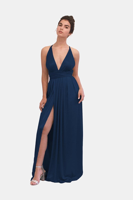 Amazon Com Navy Blue Metallic Evening Dress Maxi Long Bridesmaid Dress Wedding Or Prom Open Back Lycra Gown With Spaghetti Straps Handmade Women Handmade