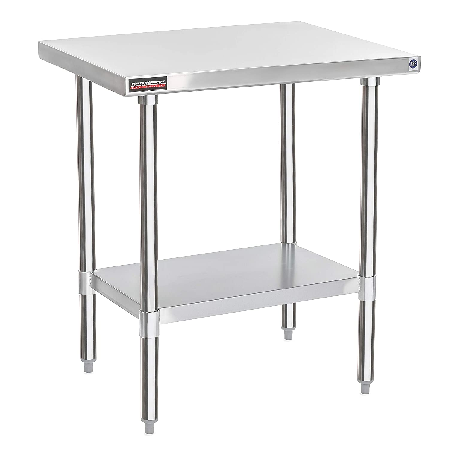 "DuraSteel Stainless Steel Work Table 24"" x 30"" x 34"" Height - Food Prep Commercial Grade Worktable - NSF Certified - Fits for use in Restaurant, Business, Warehouse, Home, Kitchen, Garage"