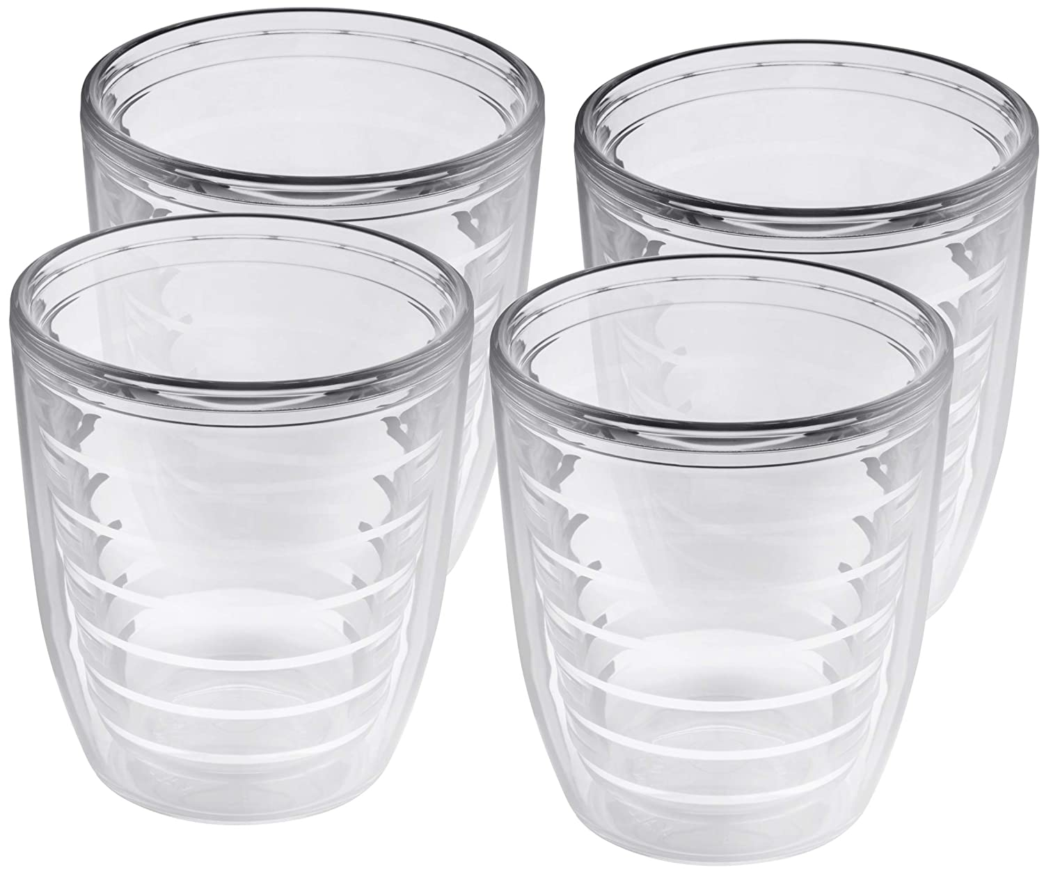 4-pack Insulated 12 Ounce Tumblers - BPA-Free - Made in USA - Clear
