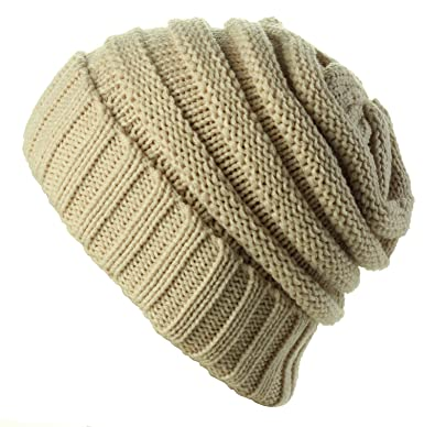 231d4ff8751 Cable Knit Beanie Slouchy Hats Crochet Wooly Winter Cap Thick