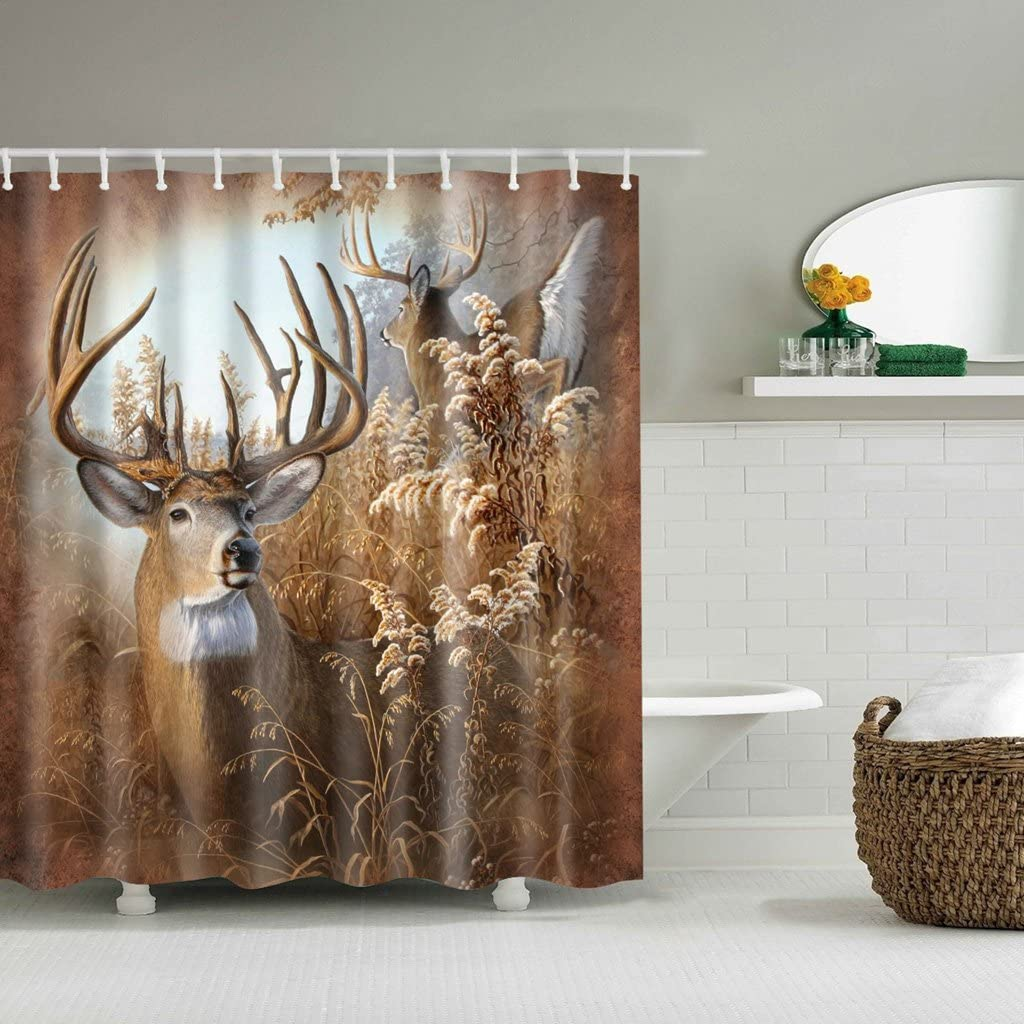 Poity Shower Curtains Deer Fabric Bath Rustic Bathroom Hunting