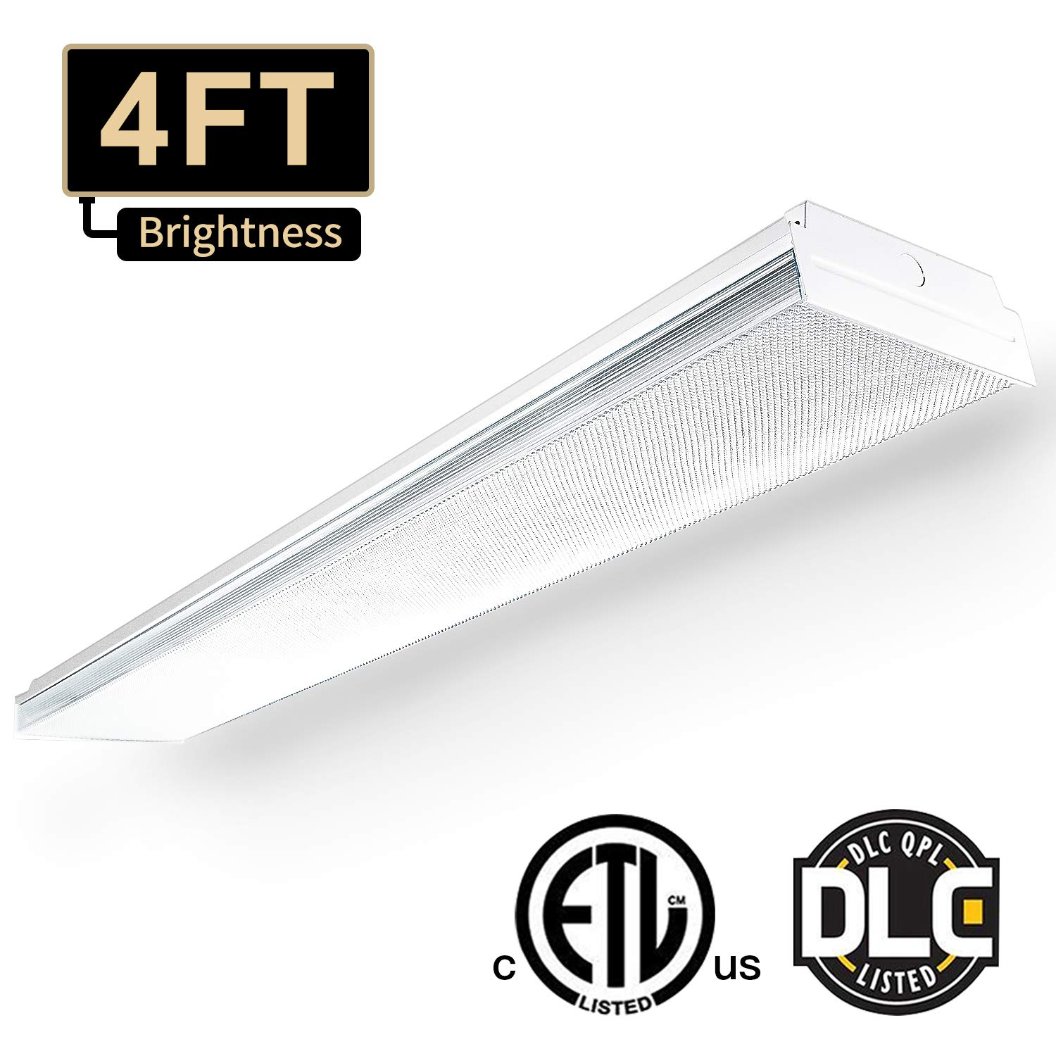 4FT LED Wraparound Flushmount Light 5000 Lumens Linkable LED Shop Lights, 60W 5000K ETL and DLC Certified Mount Ceiling Light LED Wrap Light for Workshop Base