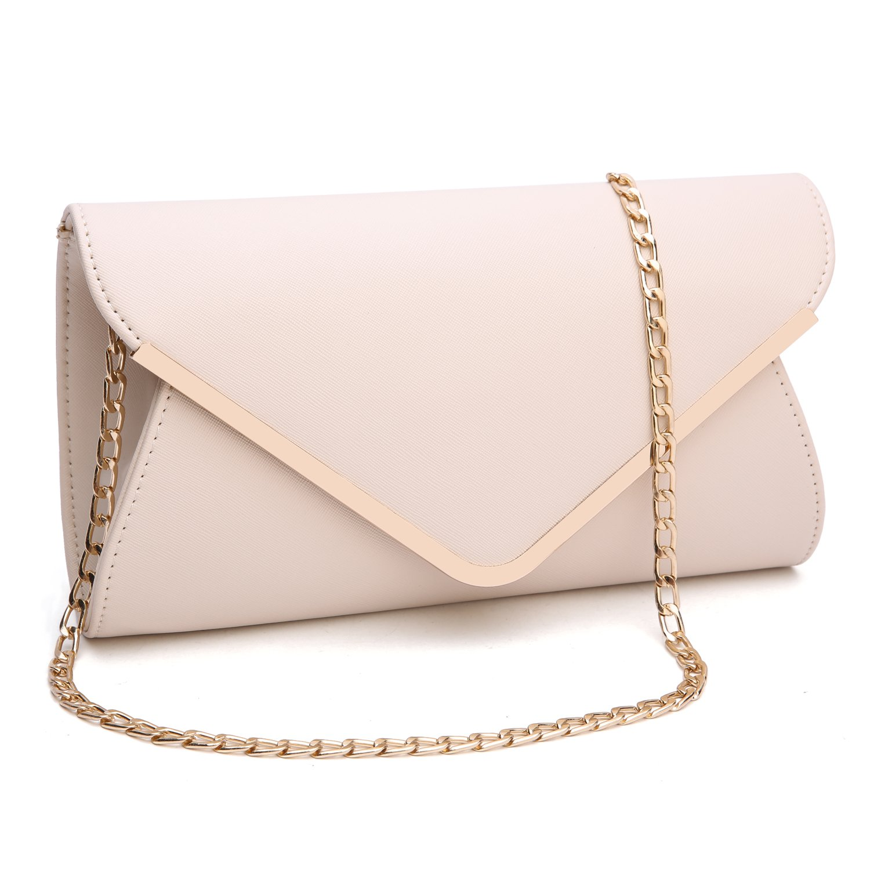 Womens Faux Leather Envelope Clutch Bag Evening Handbag Shouder Bag Wristlet Purse With Chain Strap.(Beige)