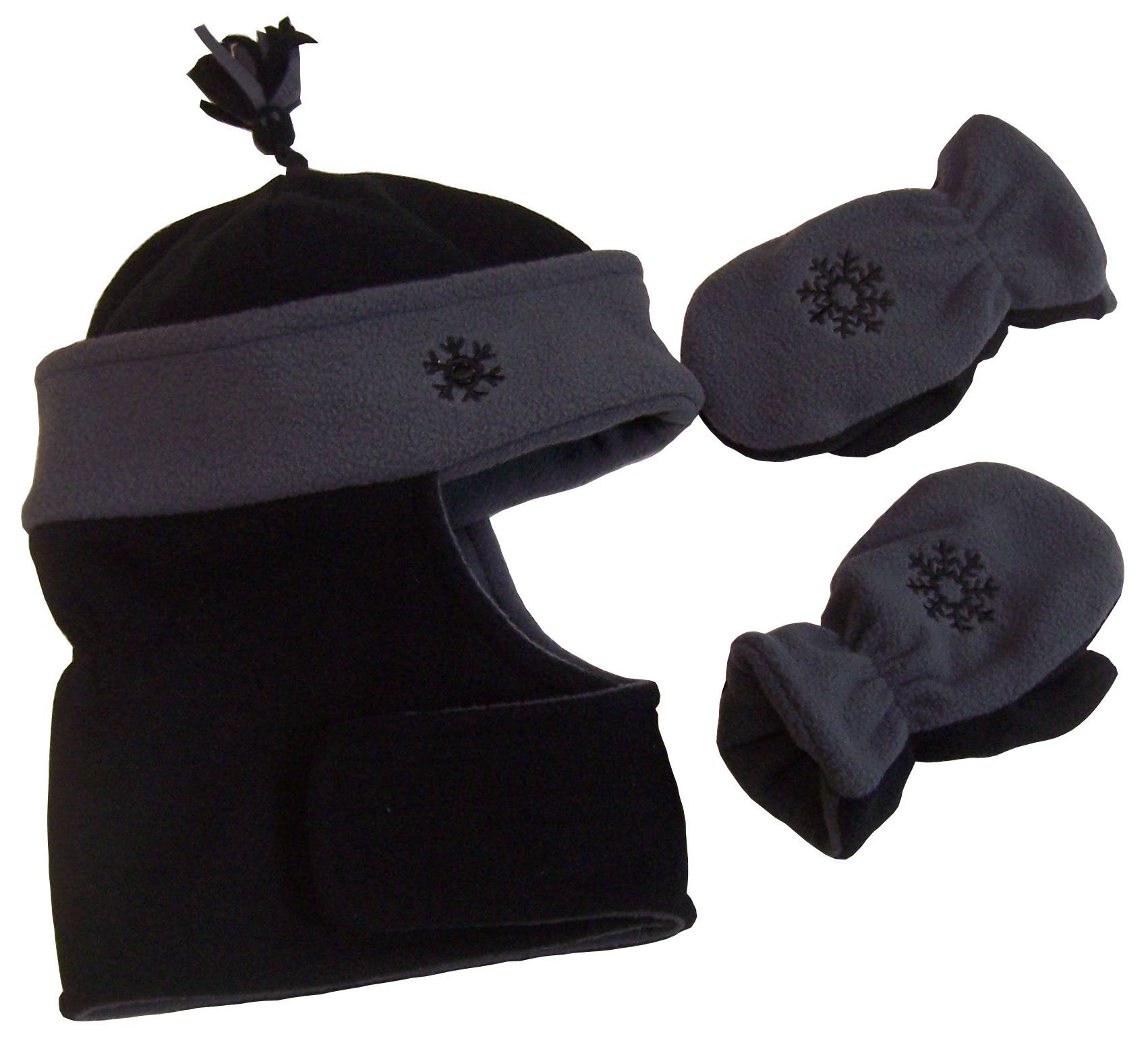N'Ice Caps Boys Wrap Around Hat and Mitten Set with Embroidery (3-5yrs, black/charcoal grey)