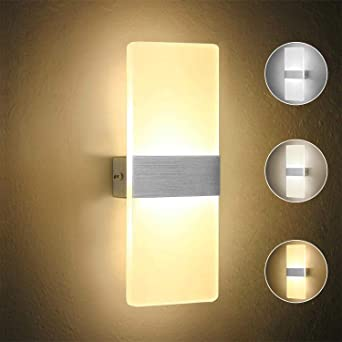 new style 994f9 64bd6 OOWOLF 6W LED Wall Lights Indoor Living Room Wall Lamp Modern Acrylic  Decorative Wall Lighting for Bedroom Pathway Corridor Stairs Balcony, 3  Color ...