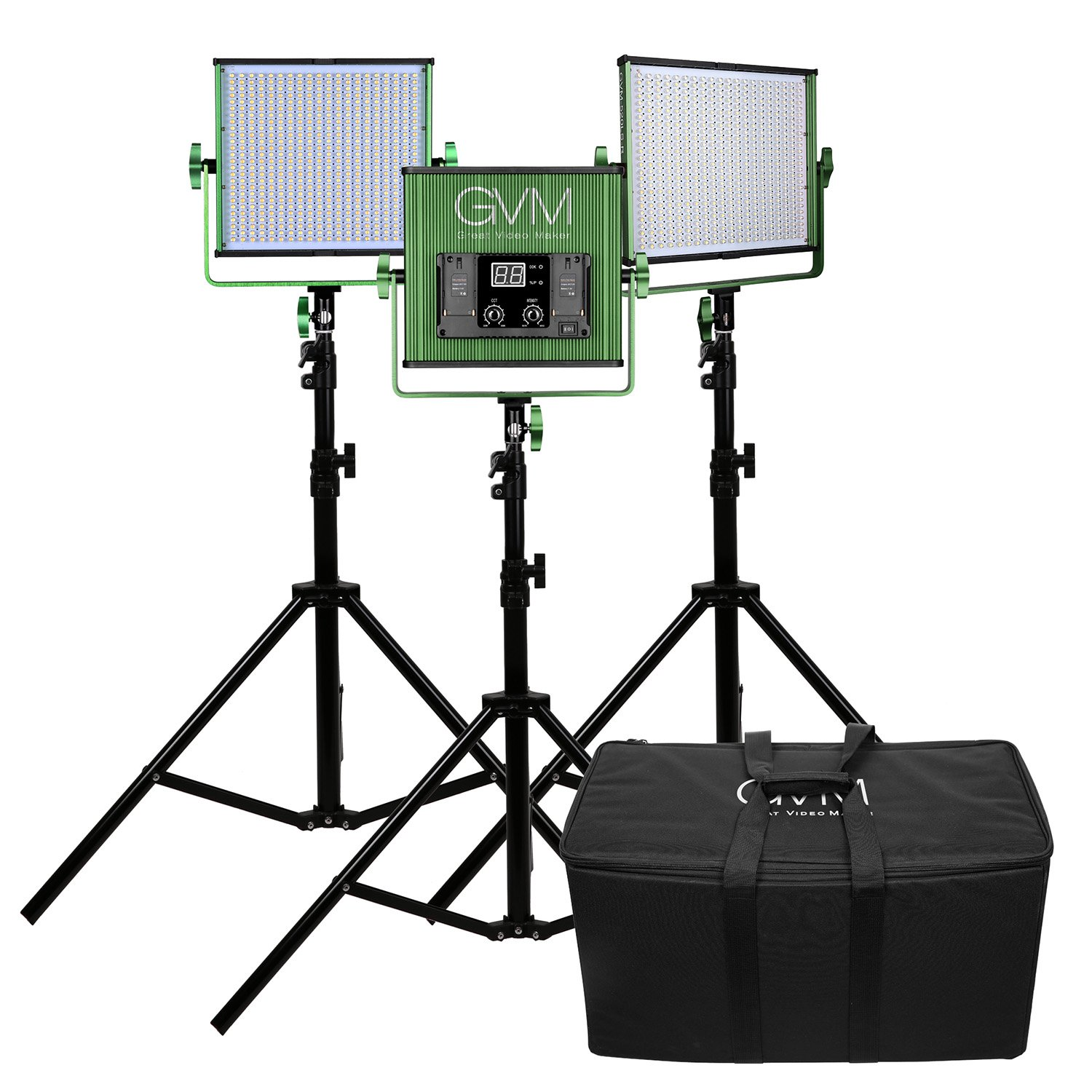 LED Video Light Panel 3pcs Kit GVM 520LS CRI97+ TLCI97+ 18500lux Dimmable Bi-color 3200K-5600K Professional for Outdoor Interview Studio Portrait photographic lighting