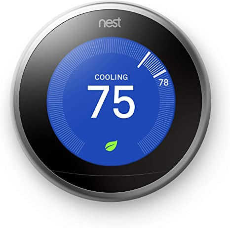 Google, T3007ES, Nest Learning Thermostat, 3rd Gen, Smart Thermostat, Stainless Steel, Works With Alexa - - Amazon.com