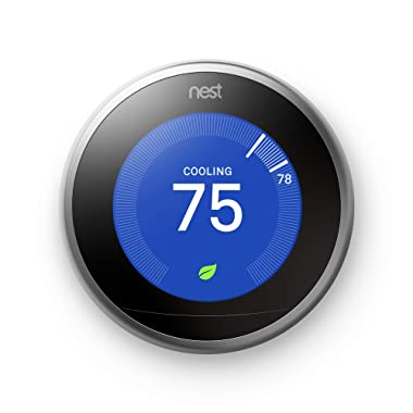 Nest T3007ES Learning Thermostat 3rd Generation, Stainless Steel, Works with Amazon Alexa, 1, White