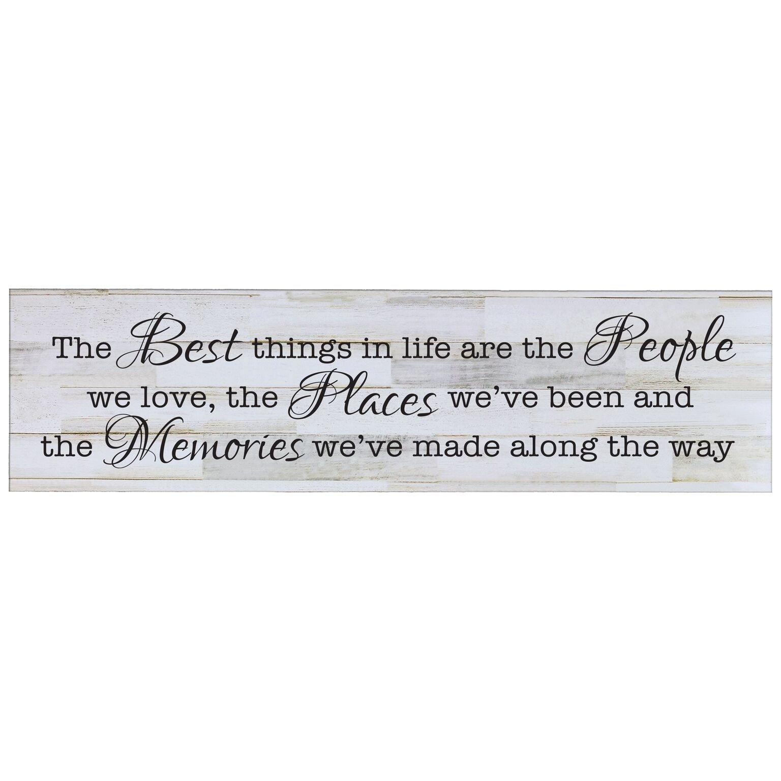 LifeSong Milestones The Best Things in Life are The People, Decorative Wall Art Decor Sign for Living Room, Entryway, Kitchen, Bedroom,Office, Wedding Idea (Distressed White Plank)