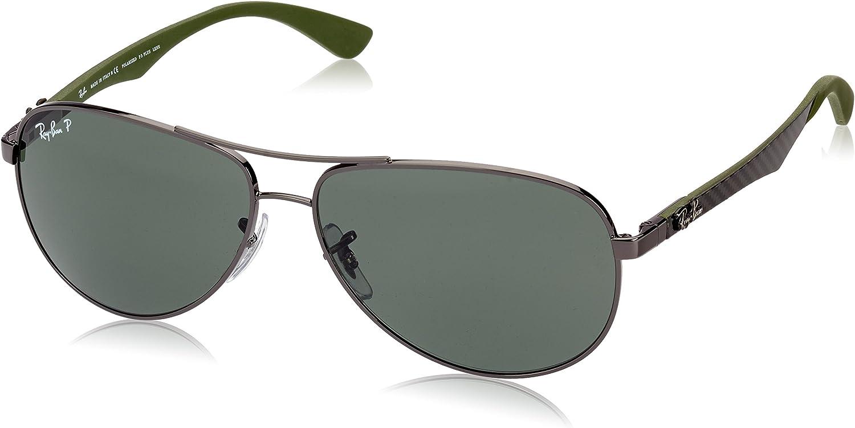Ray-Ban - Gafas de sol Aviador RB8313 para hombre, Multicolor (Marco: Gunmetal / Gris / Verde, Lente: Polarizado Verde Clásico 004 / N5)