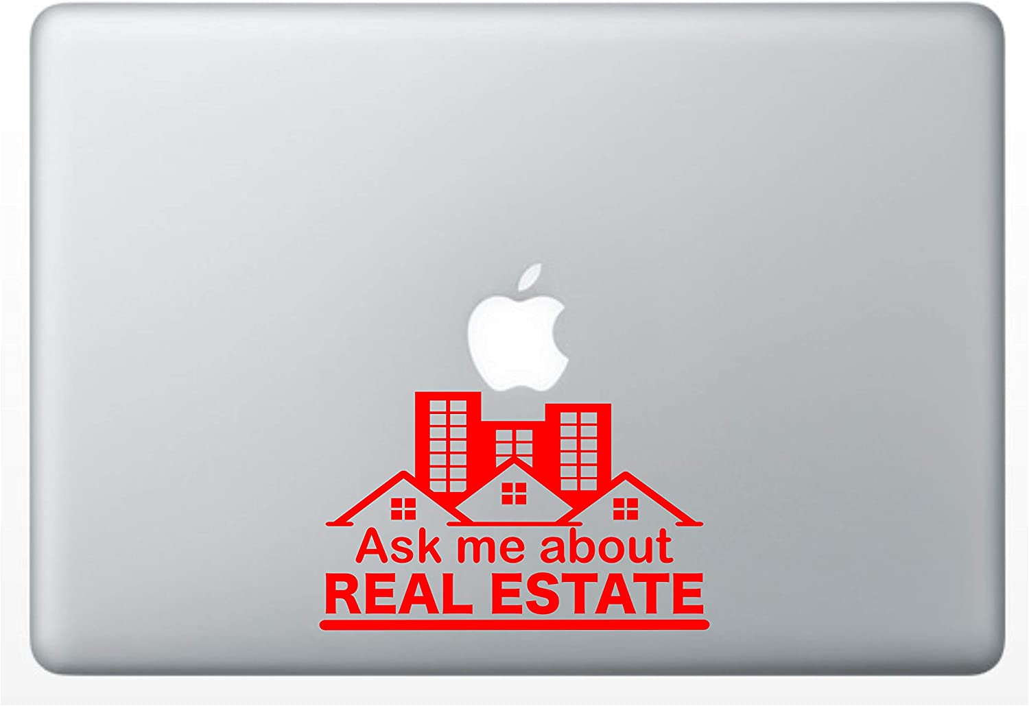 """Crazy4Decals Ask ME About Real Estate Decal Vinyl Sticker 20 Colors for Laptops, Ipads, Car Windows, Doors, Office Walls Realtor and Any Smooth Surface. 3 Different Sizes (Red, 6"""" Wide x 3.5"""" Tall)"""