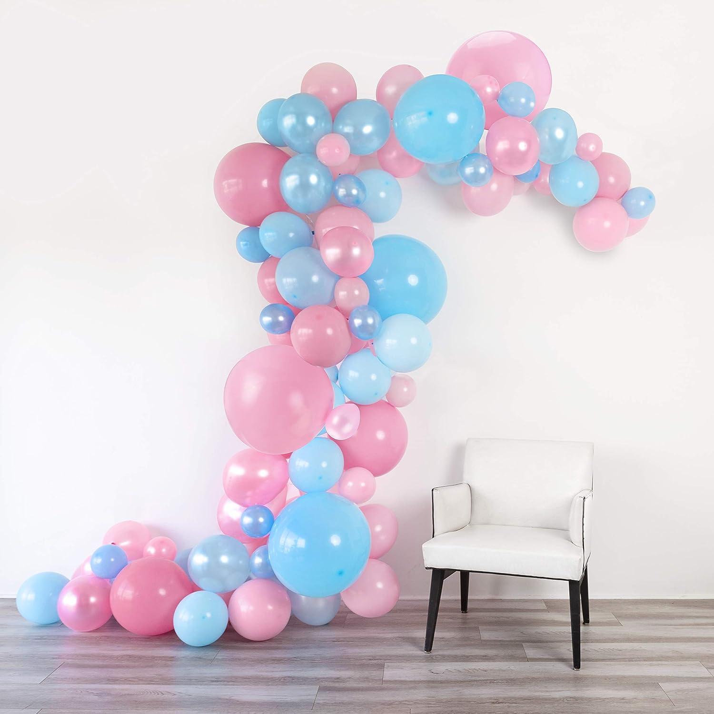Beau Junibel Balloon Arch U0026 Garland Kit | 90 Blue U0026 Pink Pearl U0026 Latex Balloons  | Glue Dots U0026 Decorating Strip | Gender Reveal, Wedding, Baby Shower,  Graduation, ...