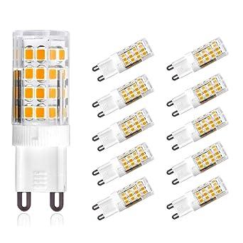 Azanaz Bombillas LED G9 5W equivalentes a Lámparas halógenas de 50W,Blanco cálido 3000k,
