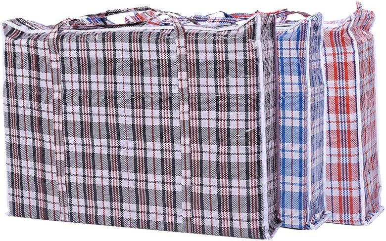"Set of 5 Large Laundry Bags with Zipper and Handles! Colors Vary Between Black, Blue, Red and White Checkers Convenient Size 19 ""x 19"" x 4""Great for Travel, Laundry, Shopping, Storage, Moving!"