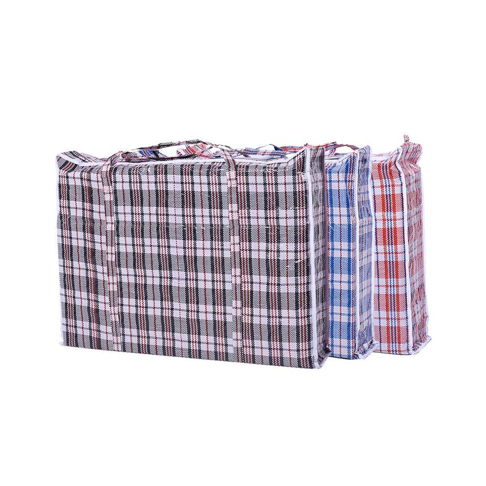 Set of 3 Jumbo Plastic Storage Laundry Shopping Bags W. Zipper & Handles Pride cotton fly