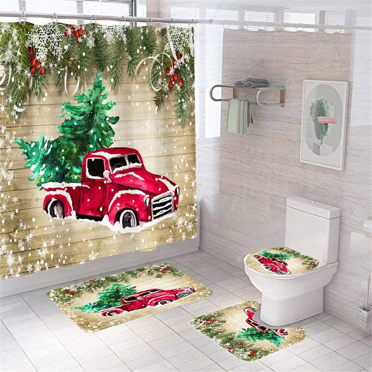 Christmas Shower Curtains for Bathroom Red Truck Shower Curtain Xmas Tree Snowflake Farmhouse Christmas Shower Curtain Sets Waterproof Bathroom Set