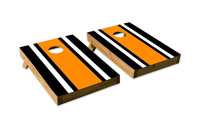 クラシック – ストライプブラックホワイトオレンジデザインCornhole/Bean Bag Tossボードセット – Made in USA木製 – 2 ' x3 'テールゲートサイズ – Includes 8 corn-filled Beanバッグ B07DZYCS59  Tailgate