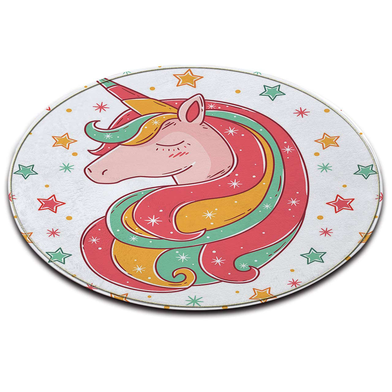 LB Round Area Rug Play Mat,Cartoon cute unicorn, Living Room Bedroom Bathroom Kitchen Children's/Baby's Room Soft Carpet Floor Mat Home Decor,60x60CM JinShiZhuan
