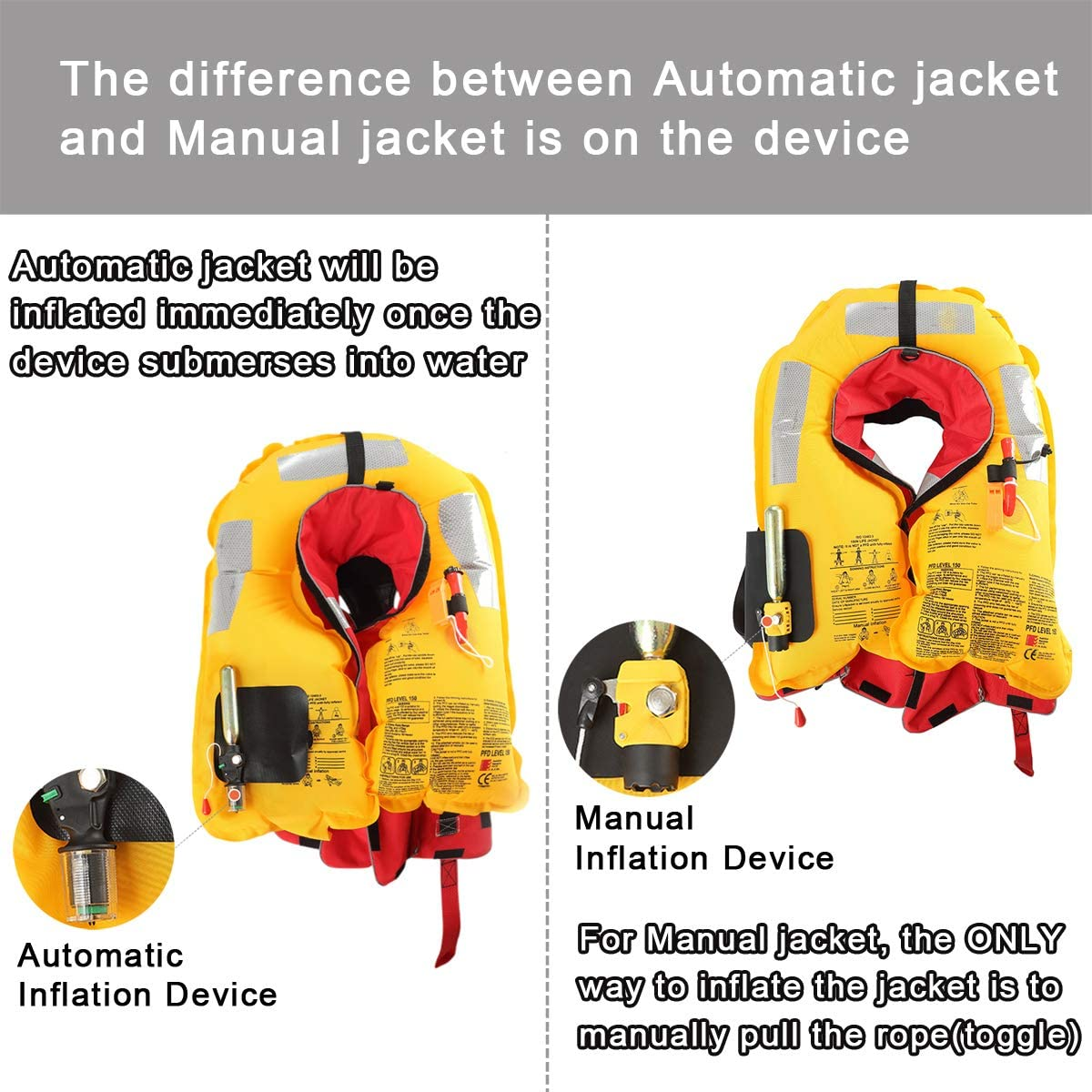 CE Approved Lightweight Premium Quality Night Cat Life Jackets for Adults Kayaking Boating Vests Inflatable Lifesaving PFD Automatic and Manual 330LB 150KG Survival Preservers