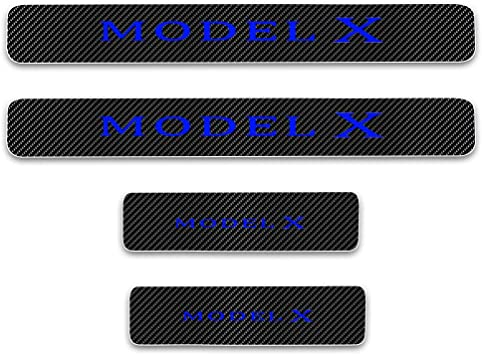 for Tesla Model X Door Sill Protector Reflective 4D Carbon Fiber Sticker Door Entry Guard Door Sill Scuff Plate Stickers Auto Accessories 4Pcs White