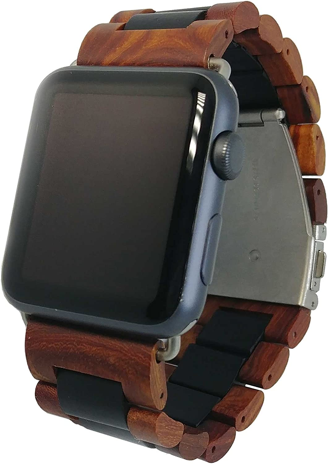 Ottm Apple Watch Band - 42 mm Unique Hardwood Watch Strap for Apple iWatch with Extra Links and Tool for Resizing (Sandalwood)