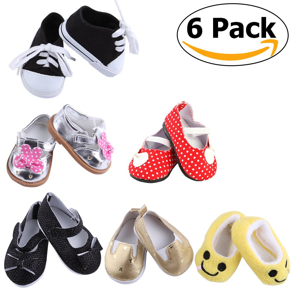 HFei 6 Pack 18 inch American Girl Doll Shoes set fit All 18 inch doll shoes,include leather shoes,cloth shoes,sneakers etc by HFei (Image #1)