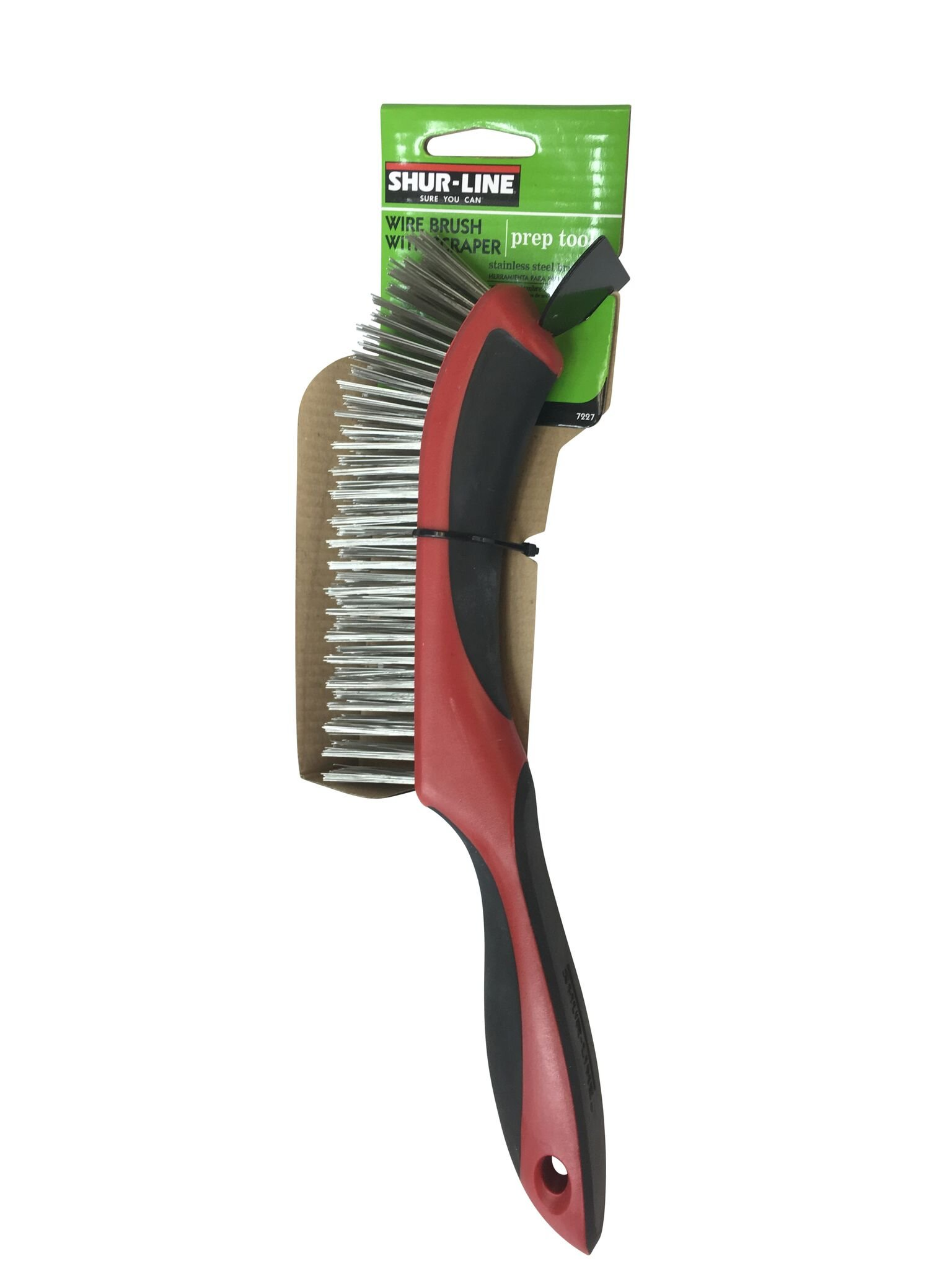 Shur-Line 7227 Premium Long Handle Wire Brush with Scraper