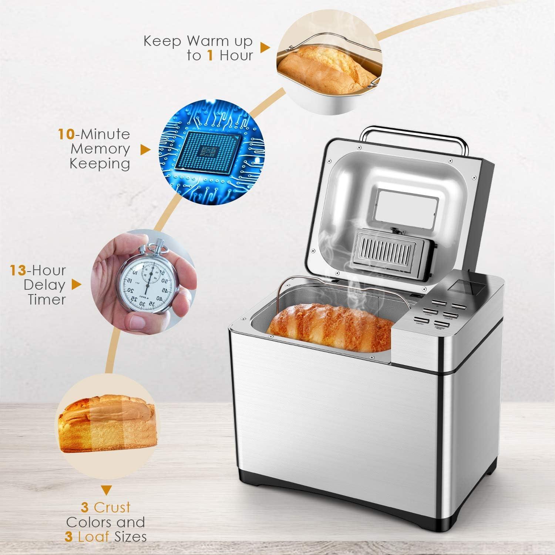 Amazon.com: Aicok Máquina de pan de acero inoxidable, 2LB 19 ...