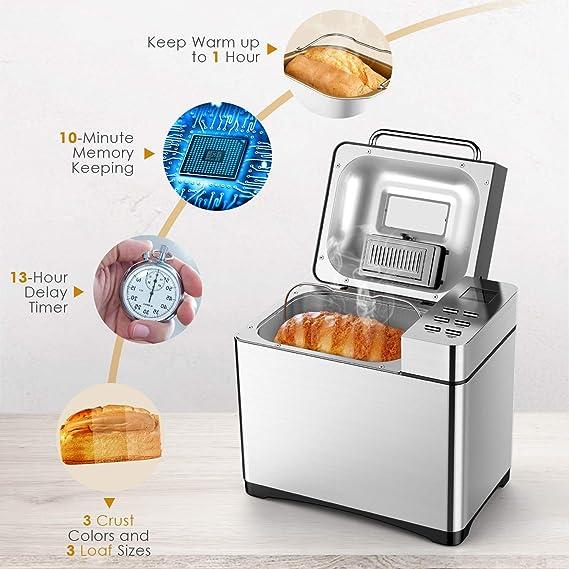 Aicok Panificadora con 19 Programas, Maquina de hacer pan con ...