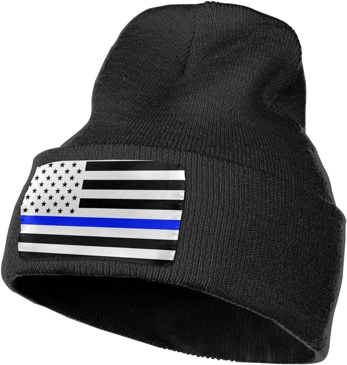 Thin Blue Line American Flag Men/&Women Warm Winter Knit Plain Beanie Hat Skull Cap Acrylic Knit Cuff Hat