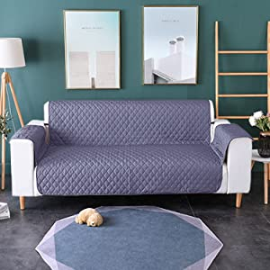 SOXART Home Sofa Slipcover Loveseat Cover Water Resistant Couch Cushion Furniture Protector with Elastic Straps for Pets Kids Children Dog Cat Grey
