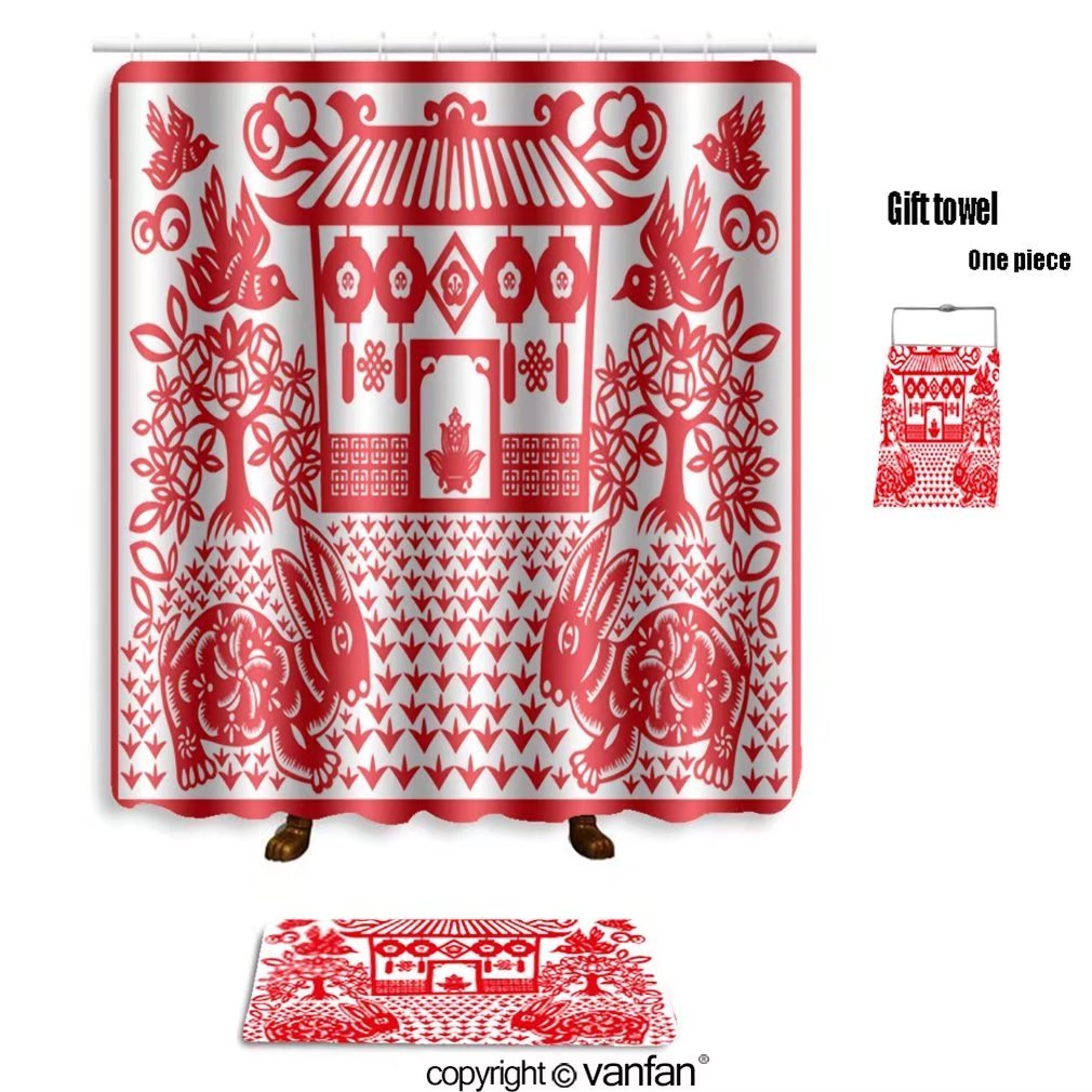 vanfan bath sets with Polyester rugs and shower curtain chinese new year rabbit 64198129 shower curtains sets bathroom 69 x 90 inches&31.5 x 19.7 inches(Free 1 towel and 12 hooks)