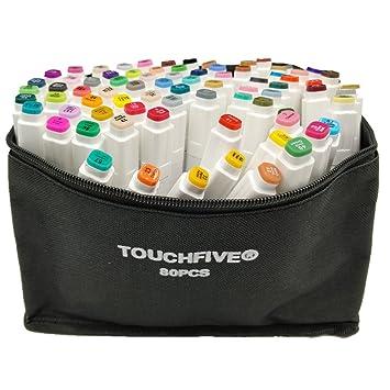 Touchfive 80 Couleurs Marqueur Peints à La Main Huile Alcool Double