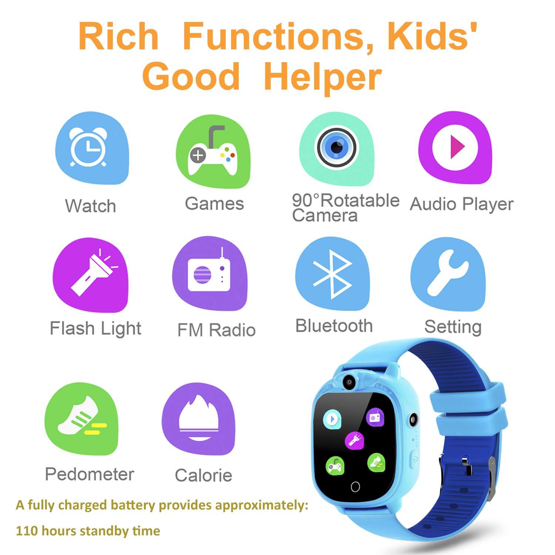 Prograce Reloj inteligente para cámara digital para niños con juegos, reproductor de música, conteo de pasos con podómetro, radios FM, linternas y ...