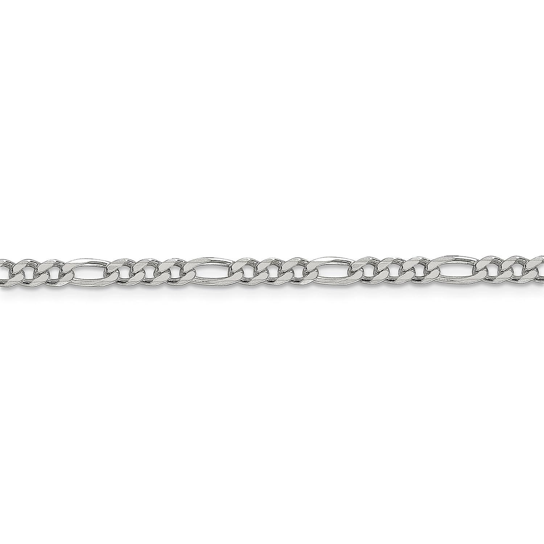 Brilliant Bijou Solid .925 Sterling Silver 4mm Pav Flat Figaro Chain Bracelet