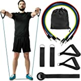 FanBell 11 Pack Exercise Resistance Bands with Handles Set – Include 5 Stackable Exercise Bands with Handles, Carry Bag, Legs