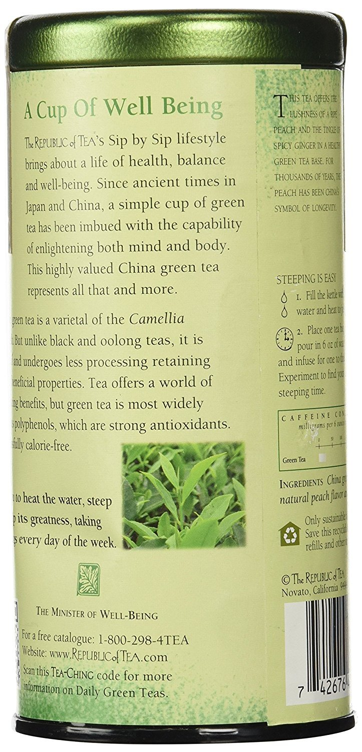 Benefits of herbal peach tea - Amazon Com The Republic Of Tea Ginger Peach Green Tea Caffeinated 50 Count Grocery Gourmet Food