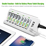 EBL Rechargeable AAA Batteries 1100mAh (8 Pack) and 808U AA AAA Rechargeable Battery Charger with 2 USB Fast Charging Ports