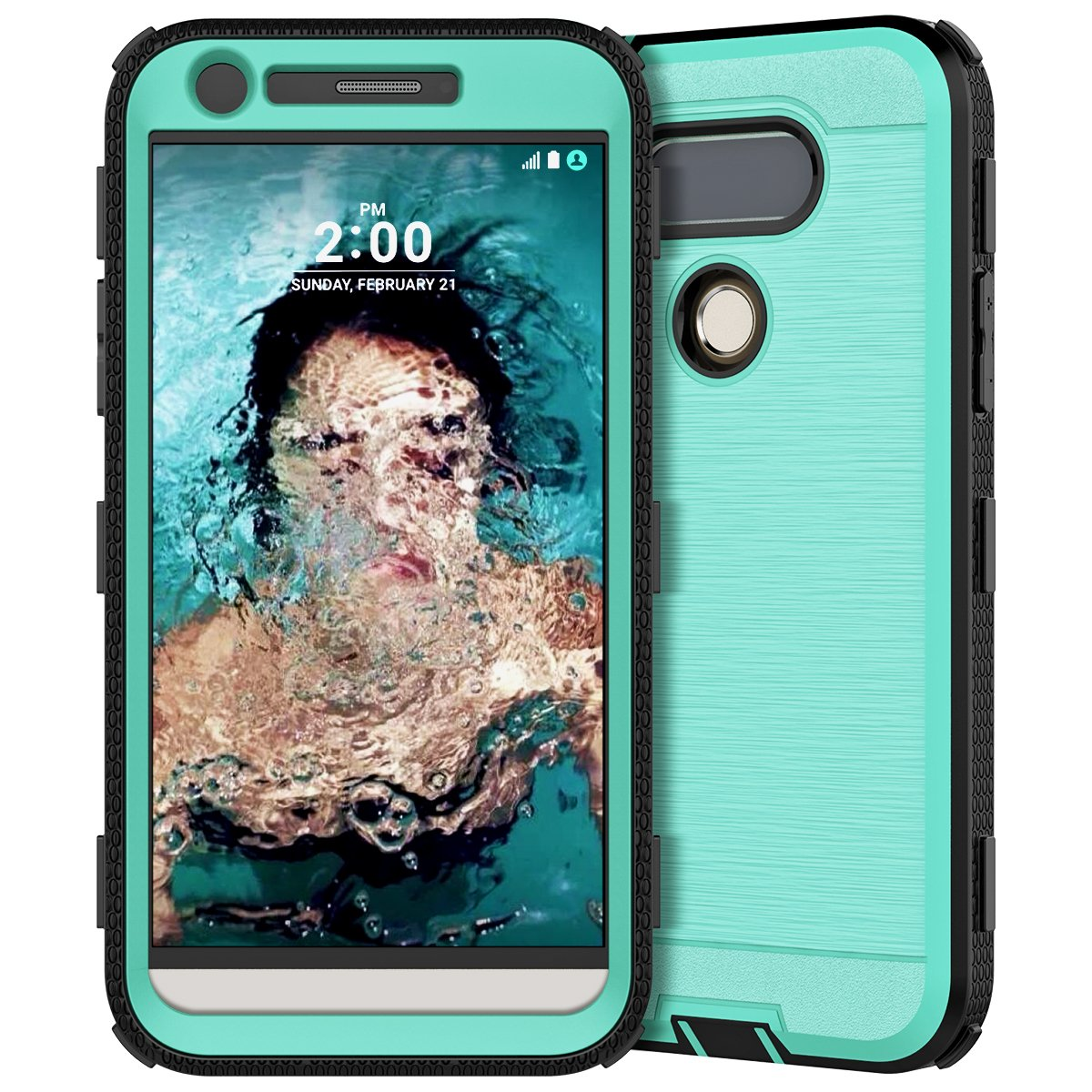 LG G5 Case, CinoCase Heavy Duty Rugged Armor Protective Case Hybrid TPU Bumper Shockproof Case with Brushed Metal Texture Hard PC Back for LG G5 (2016) Mint