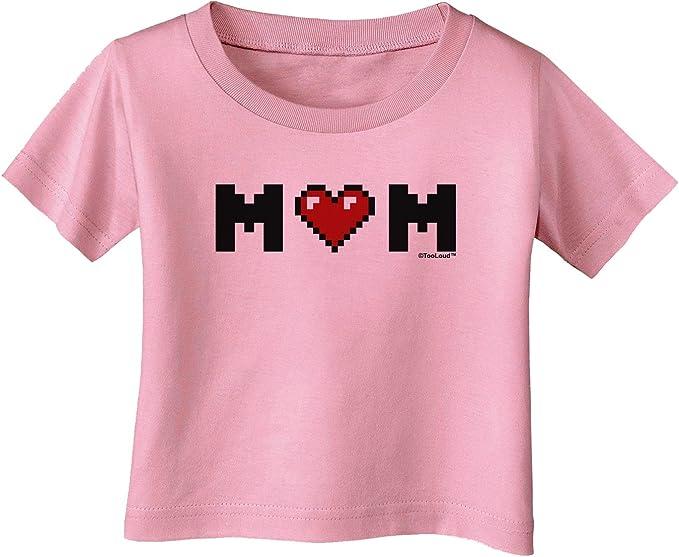 TooLoud Mom Pixel Heart Infant T-Shirt Dark
