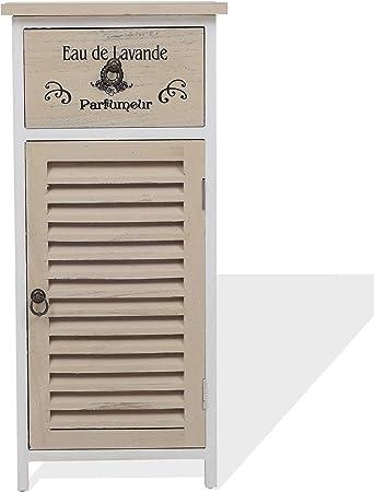 Rebecca Mobili Meuble Salle De Bain Petit Armoire De Rangement Pour Chambre 1 Porte 1 Tiroir Blanc Beige Style Vintage Salle De Bain Chambre Dimensions 75 X 32 X 27 Cm