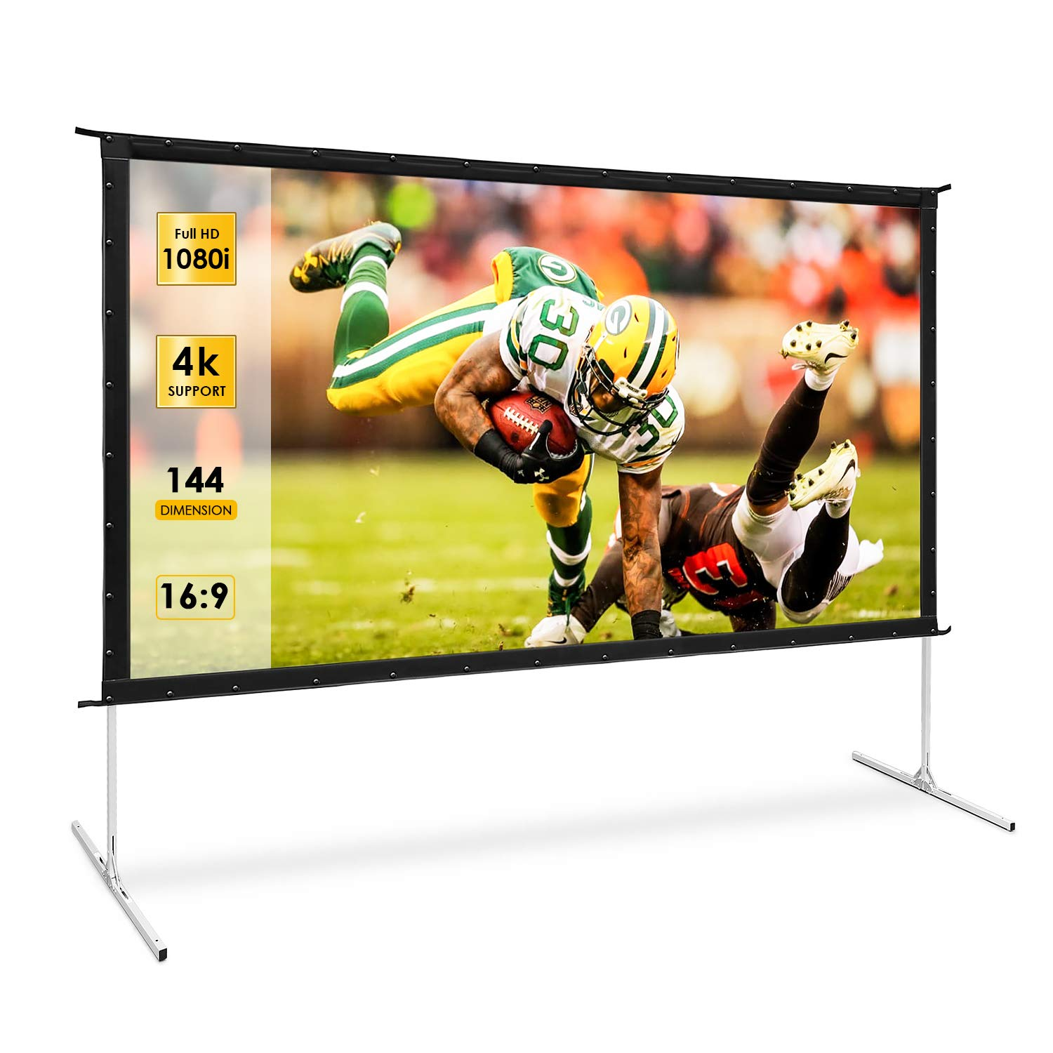 Projector Screen, TUSY 144-inch Portable Movie Screen, 16:9 4K Ultra HD 3D Projector Outdoor Movie with Stand-Folding Wall-Mounted Outdoor Screen for Home Theater Movies by TUSY