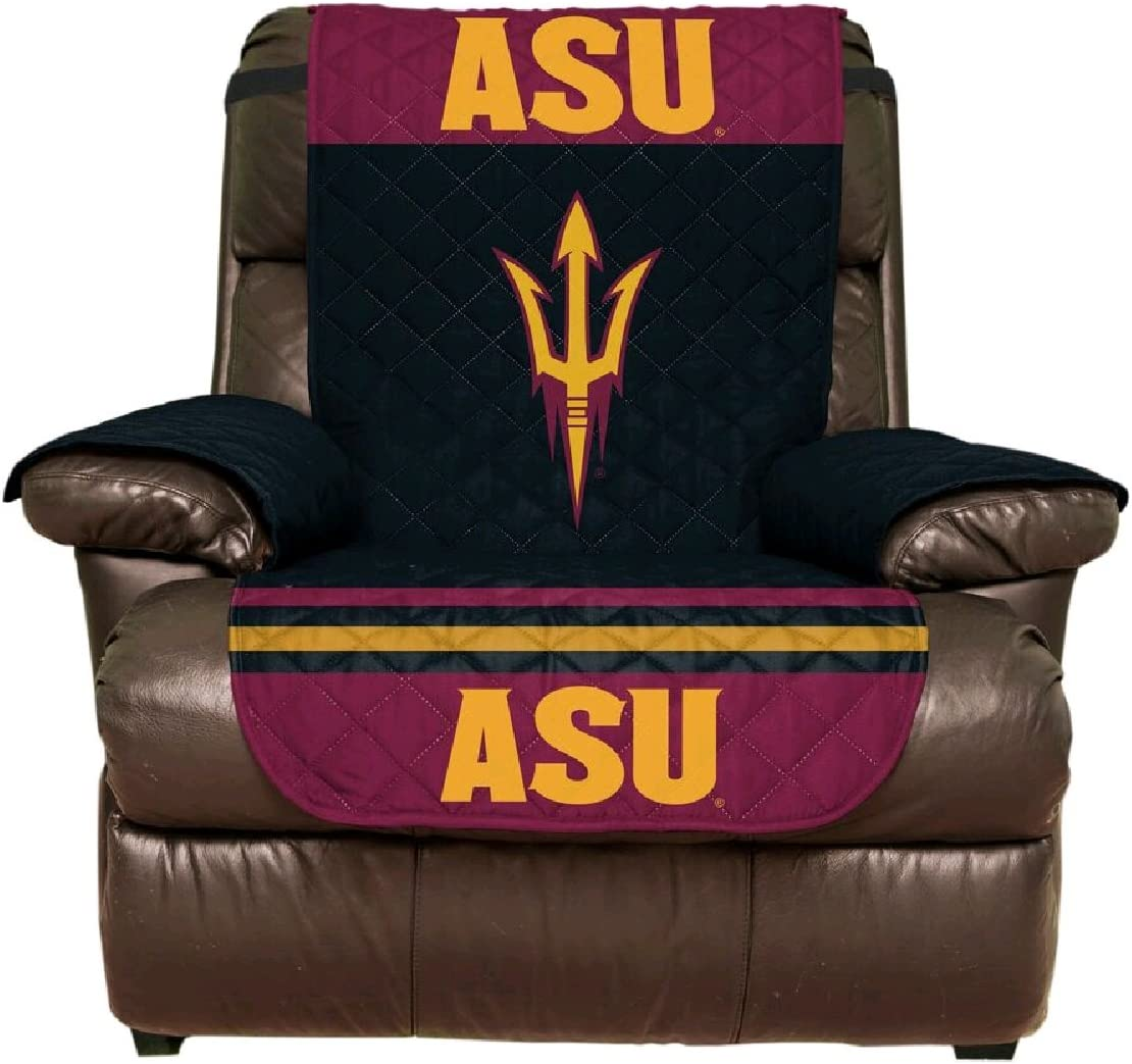 Deluxe Home Reversible Couch Cover - College Team Sofa Slipcover Set/Furniture Protector - NCAA Officially Licensed (Recliner, Arizona State University Sun Devils (ASU))