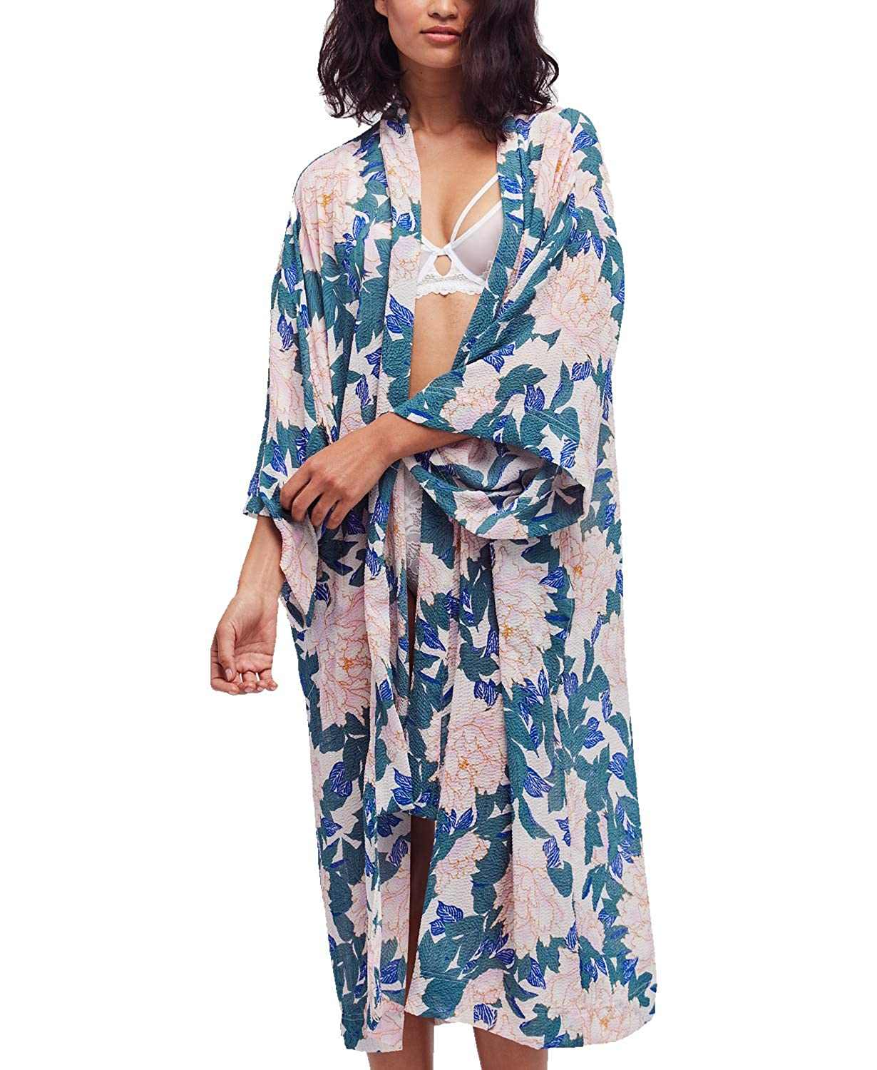 Free People Womens Floral Print Sheer Kimono Swim Cover-Up Ivory M at  Amazon Women s Clothing store  0c5b5da8e