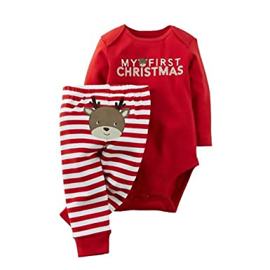Amazon.com: Yobeyi Baby's First Christmas Romper Onesie & Reindeer ...