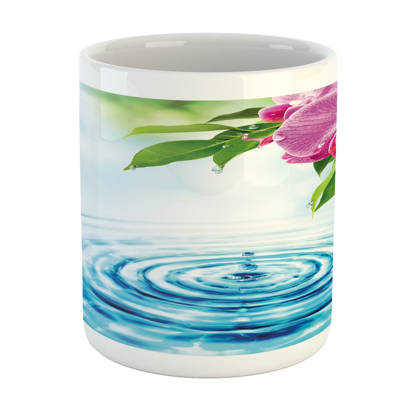Lunarable Floral Mug, Natural Inspired Relaxation Orchid Petals Down on Water Spa Meditation Zen Concept, Printed Ceramic Coffee Mug Water Tea Drinks Cup, Multicolor